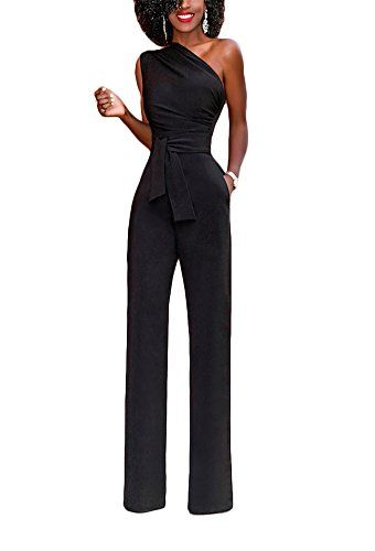 1d81ea59e5a Bluewolfsea Women s Sexy One Shoulder Jumpsuits High Waisted Wide Leg Long Romper  Pants with Belt
