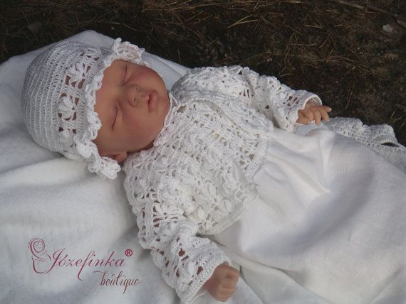 Baptism DressCrochet Baby Dresslinen dress by JozefinkaBoutique