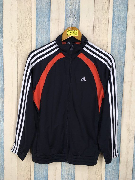 feab23d4a99 ADIDAS Track Top Jacket Women Medium Vintage 90s Adidas Equipment Three  Stripes Sportswear Black Sport Trainer Sweater Jacket Size M