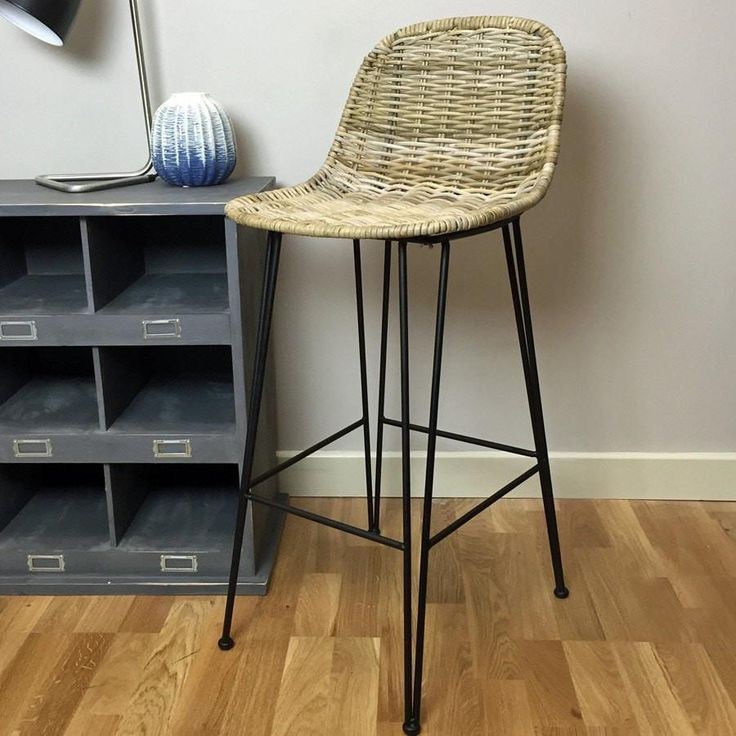Rustic Rattan High Bar Stool from The Farthing