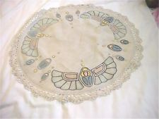 Iconic Scarab Design Arts Crafts Movement Antique Embroidered Tablecloth Topper