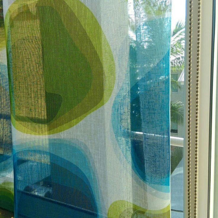 RAINY DAY BLUES #PetraAzul  on #sheer brings some brightness to a rainy Sunday in #Brisbane . #draperyfabric #decor #sheerfabric #curtains #retro #midcenturymodern #TextileDesigner #LynneTanner #australianmade