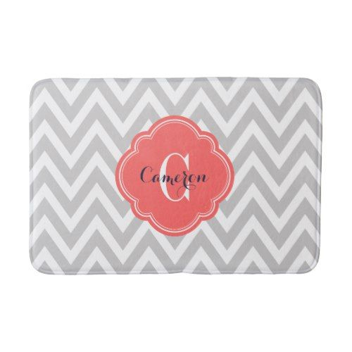 Gray and Coral Chevron Monogram Bathroom Mat