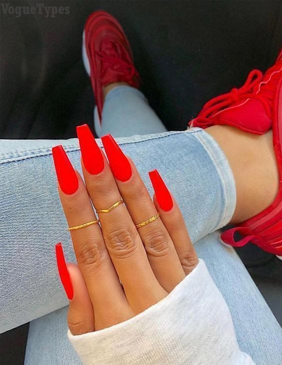 Fascinating Red Nail Designs Styles For 2019 Voguetypes Red Acrylic Nails Acrylic Nails Red Nail Designs