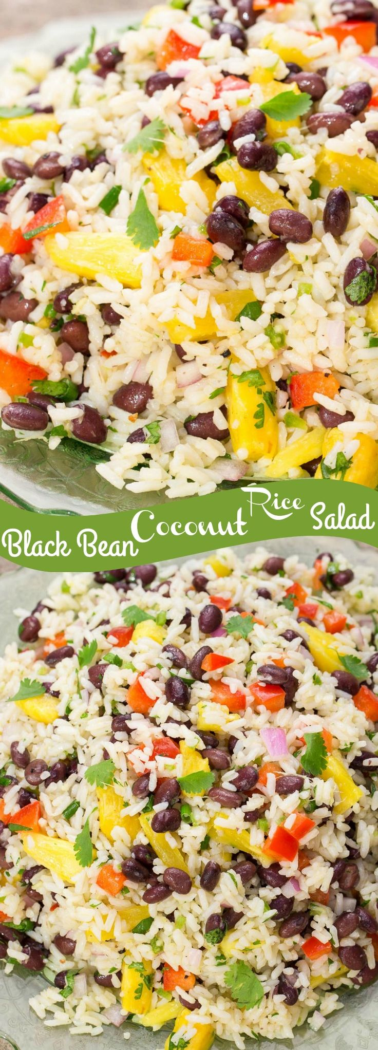 Black Bean Coconut Rice Salad is a perfect side dish for Picnic and BBQ Season! Nutritious and so delicious! Coconut rice, black beans, pineapple and more!