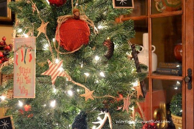 Worthing Court: No-sew red ticking and burlap Christmas tree garland