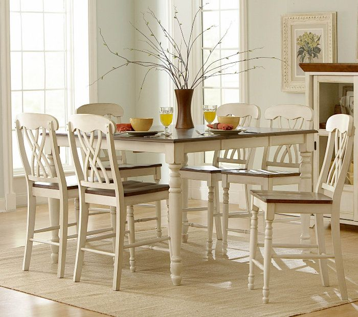 Homelegance Ohana 7 Piece 54x36 Counter Height Set in Antique White