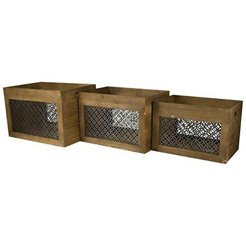 Attractive Home Office Collection U2013 Set Of Three Wood Storage Bins With Metal Panels U2013  Decorative Storage Boxes U2013 Wood Crates For Storage U2013 Rustic U2013 Shabby Chic