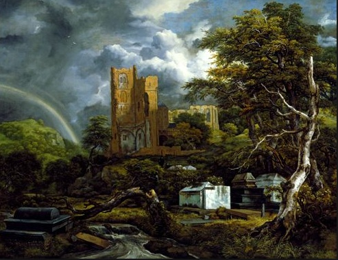 """""""The Jewish Cemetery""""  by Jacob van Ruisdael. Light, depth, rainbow, ruins. Saw this in Nashville, on loan from Detroit's substantial Dutch Masters collection."""