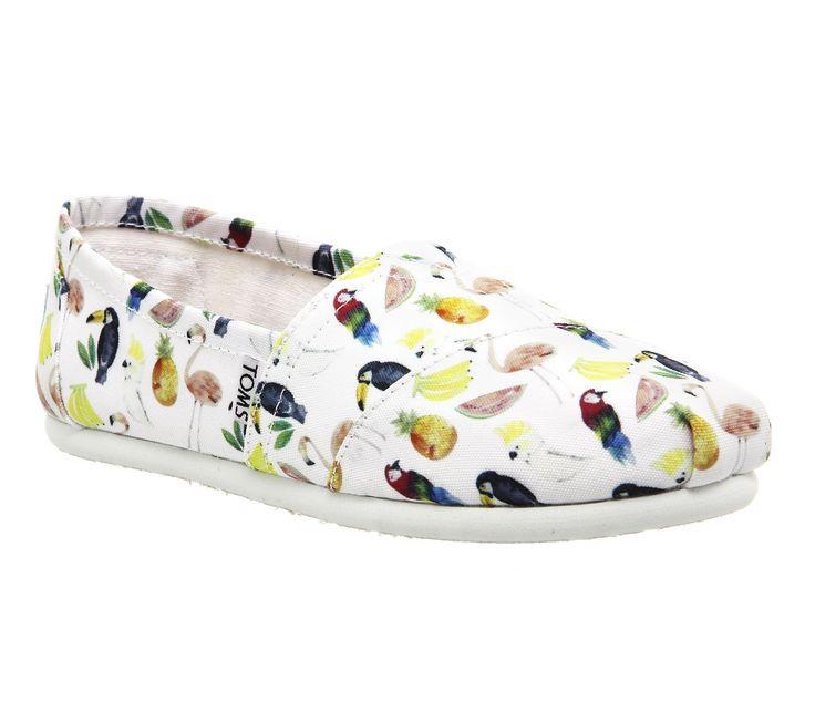 Toms Women's Classic White Printed Parrots Casual Shoe 8 Women US