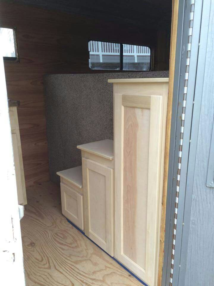 Storage & steps. - probably would only have room for the shorter 2 steps with where the fridge sits in ours