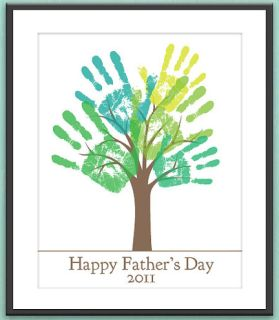 Family tree built over years one finger print (instead of a whole hand) at a time every fathers day.