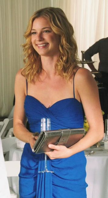 Emily Thorne from Revenge inFendi Strapless Chiffon Draped Dress on S01E02 'Trust'.