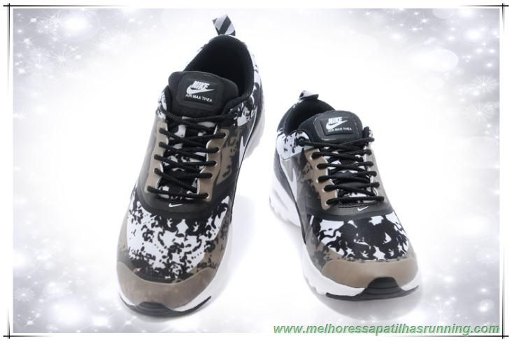 sapatilhas de running Mulheres Nike Air Max Thea Print Preto/Branco/Cinza Escuro 599409-011