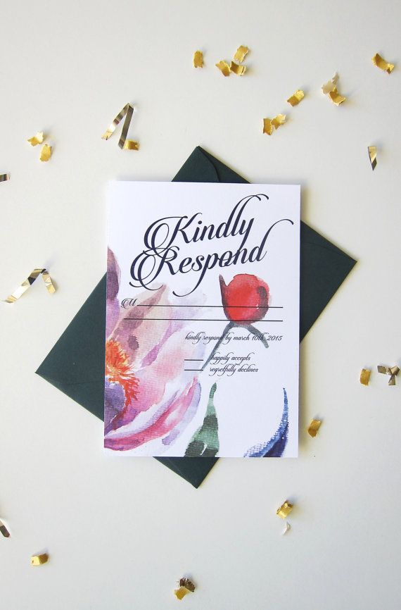 Watercolor Wedding Invitation Suite Floral by ShopPaperGarden