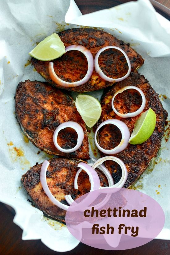 Chettinad fish fry recipe using King fish steaks, a spicy marinade masala coating, and shallow fried until crisp and golden brown.