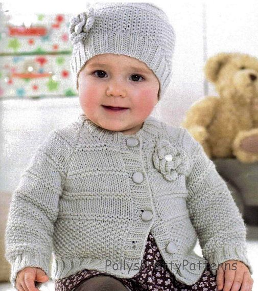 PDF Knitting Pattern - Baby Girls & Childs Flower Motif Cardigan and Hat Set 16-26 Chests - Instant Download