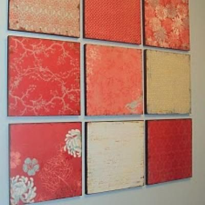 Love this, I always love scrapbook paper but never have a need for it. Basement, bedroom, or playroom idea