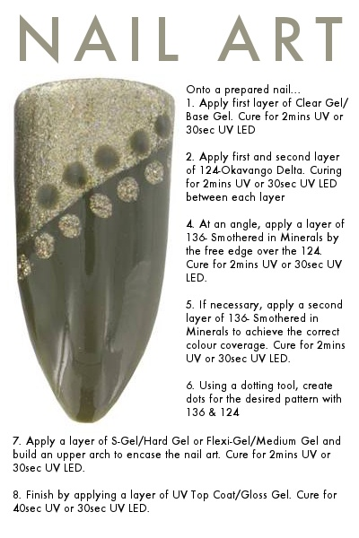 Bio Sculpture Gel nail art with no.124 Okavango Delta
