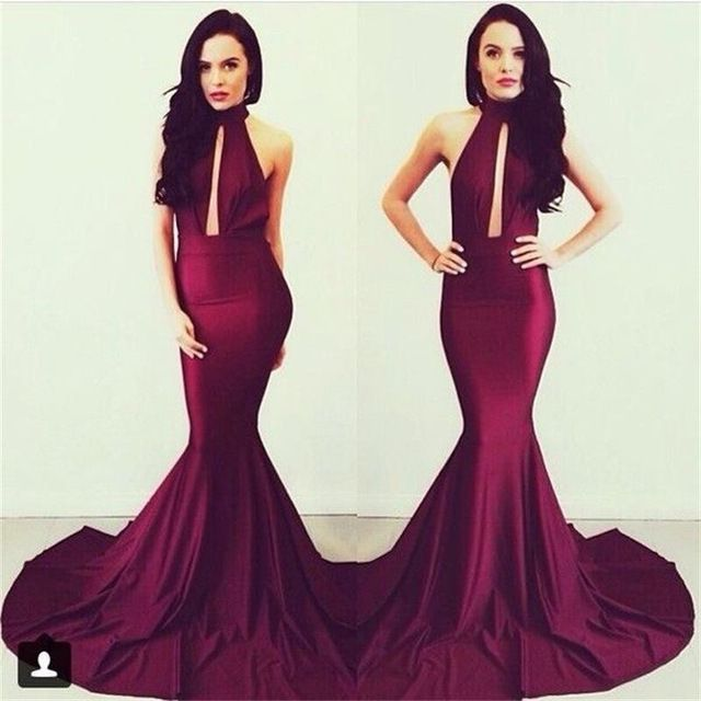 Online Shop High Neck Backless Mermaid Prom Dresses 2015 Michael Costello Real Sample Elegant Burgundy Women Evening Gowns Long|Aliexpress Mobile