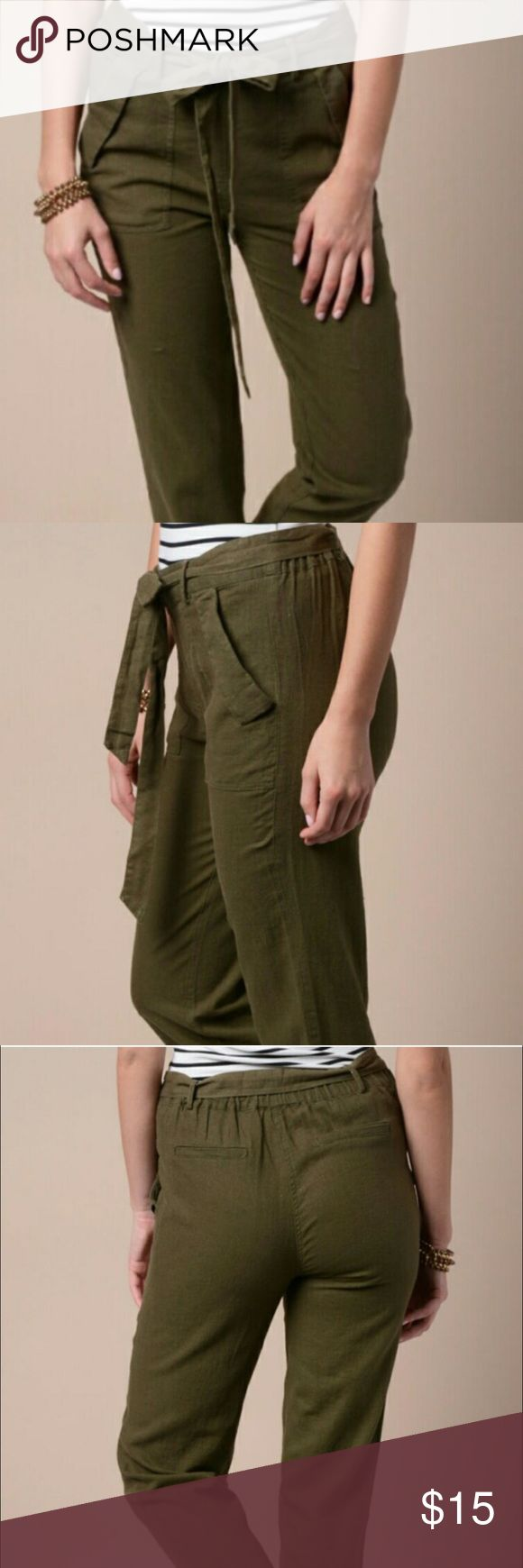 Olive green chino style pants 🎉BOGO SALE 🎉🎉 Green chino style pant very comfortable. Matching fabric belt. Front side pockets 🎉BOGO purchase these and get one item if equal or lower price FREE 🎉🎉 Pants Straight Leg