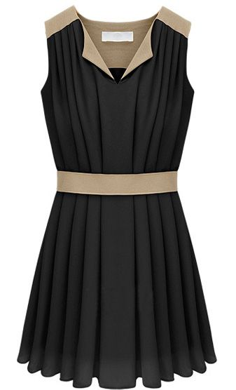 Black V-neck Sleeveless Contrast Panel Pleated Chiffon Dress