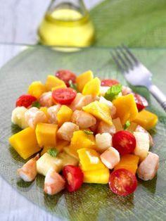 Ensalada de langostinos y mango