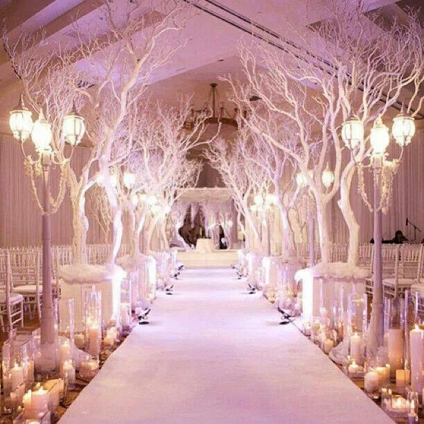 Winter Wonderland Wedding: I Want This When I Walkdown The Aisle [I Love  The Tree Ideas! So Going To Do This For My Wedding. No, Seriously, I Do  Want Trees ...