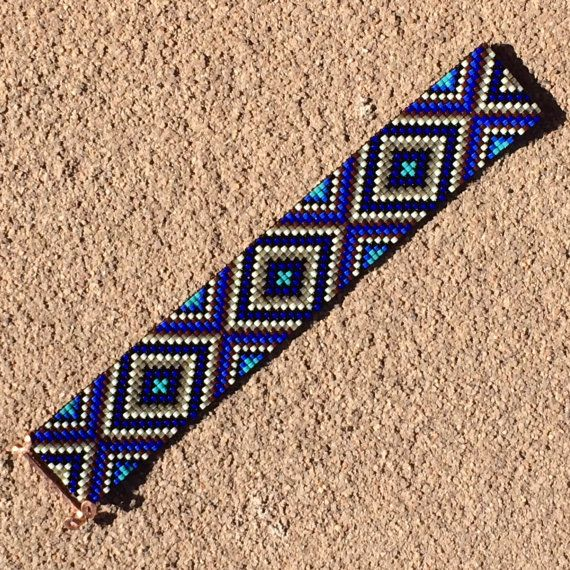 Sparkling Blues Bead Loom Bracelet Bohemian Boho by PuebloAndCo