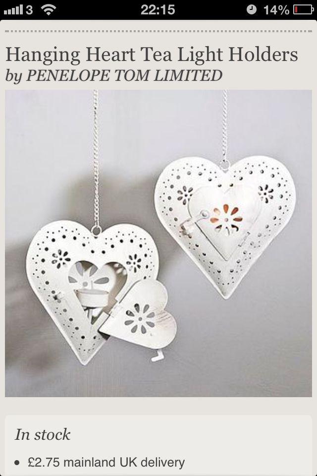 White metal hanging hearts