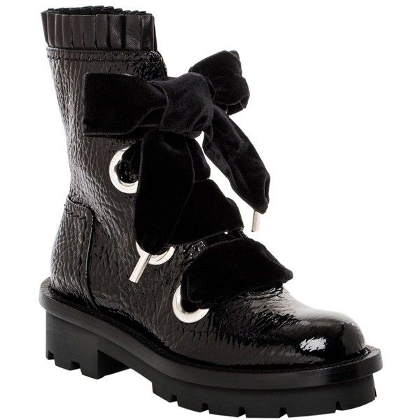 Alexander McQueen Textured Patent Leather Combat Boots (2,025 BAM) ❤ liked on Polyvore featuring shoes, boots, ankle booties, ankle boots, black, black booties, short black boots, black combat boots, black military boots and chunky platform boots