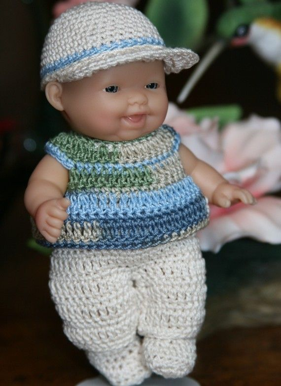 Knitting Patterns Small Dolls Clothes : Crochet clothes outfit Berenguer 5 inch baby doll Little Boy Blue Green Ecru ...