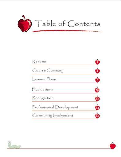 professional portfolio samples for teachers | Sample Portfolio