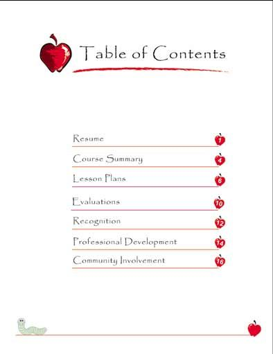 table of contents  portfolio samples and teaching