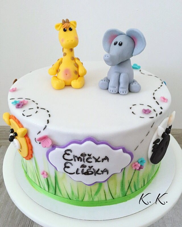 Animals fondant cake