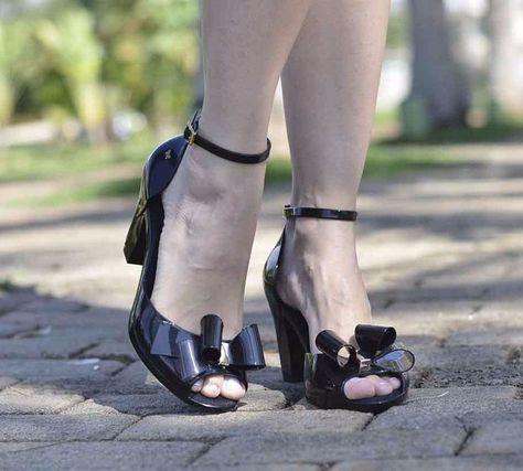 Zaxy Diva BOW Peep Toe Black Heels [Melissa] [Mel shoes] [Jelly Shoes]