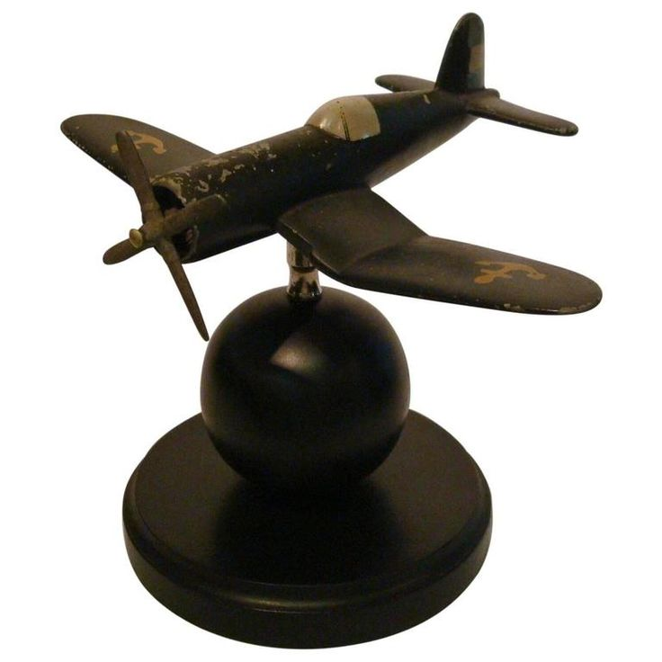 Art Deco Airplane Fighter Desk Model Vought F4u Corsair, 1940s | From a unique collection of antique and modern desk accessories at https://www.1stdibs.com/furniture/decorative-objects/desk-accessories/