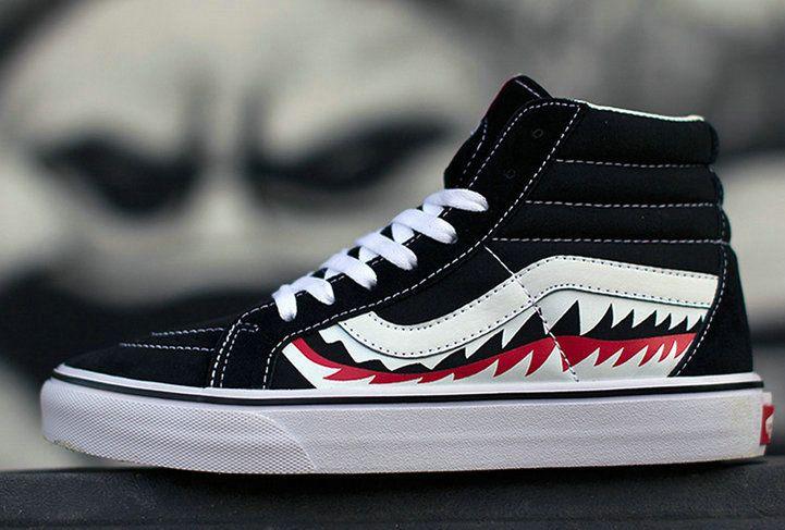Vans X Bape Shark Mouths Sk8 Hi Black Skateboard High Top Shoes Vans For Sale Vans Krossovki