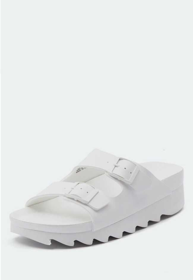 On Trend White Cleated Sole Sandals, This stylish sandal is right on trend with the cleated sole and double buckle detail.  $70.00 - On Trend Fashion Australia