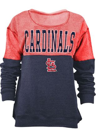 St Louis Cardinals Womens Tri-Blend Red Crew Sweatshirt