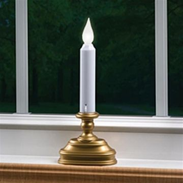 Window Candle, LED Economy Single Tier, ANTIQUE Base, Battery Operated, Auto Sensor, AMBER Flame