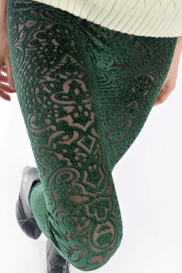 Green spring Velvet Silver Dots Transparent Sheer Vintage Flower Floral Cut Slim Fit Leggings Tights Pants via doleggings. Click on the image to see more!