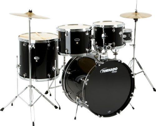Mapex Tornado 5-Piece Drumset Black by Mapex. $399.00. The Mapex Tornado Drum Set includes 8-ply, 7.2mm all-poplar shells that deliver an incredible high-end attack, a narrower midrange, and plenty of bottom end punch. The shells have an exterior maple veneer finished with 8 coats of hand-applied transparent lacquer. Complemented by the matching lacquered bass drum hoops, this kit has a gorgeous appearance that's sure to shimmer under the lights.The Isolated Tom ...