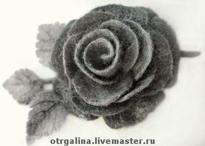 """роза """"Графит"""" - валяная брошь,брошь в форме цветка,шерсть,меринос,волокна шёлка"""