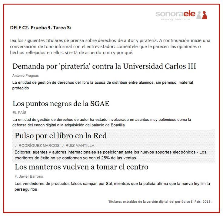 DELE C2. Prueba 3. Tarea 3. Titulares sobre derechos de autor y piratería.