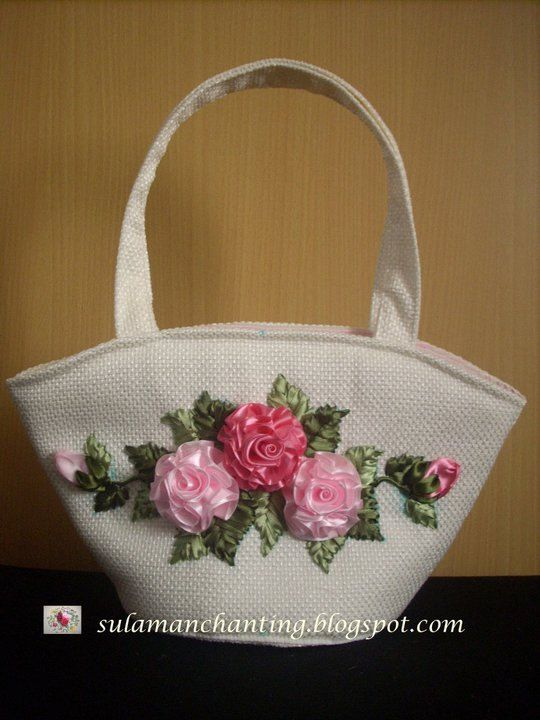 Ribbon embroidery purse silk roses bags