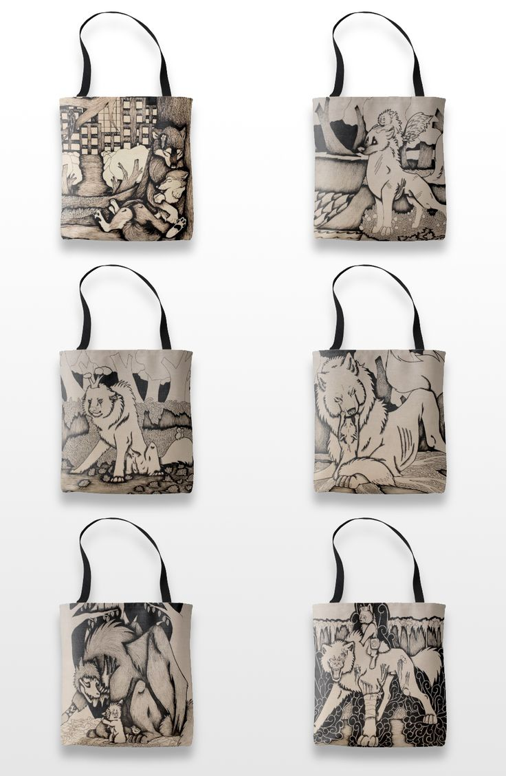 Black and white wolf and dog tote bags