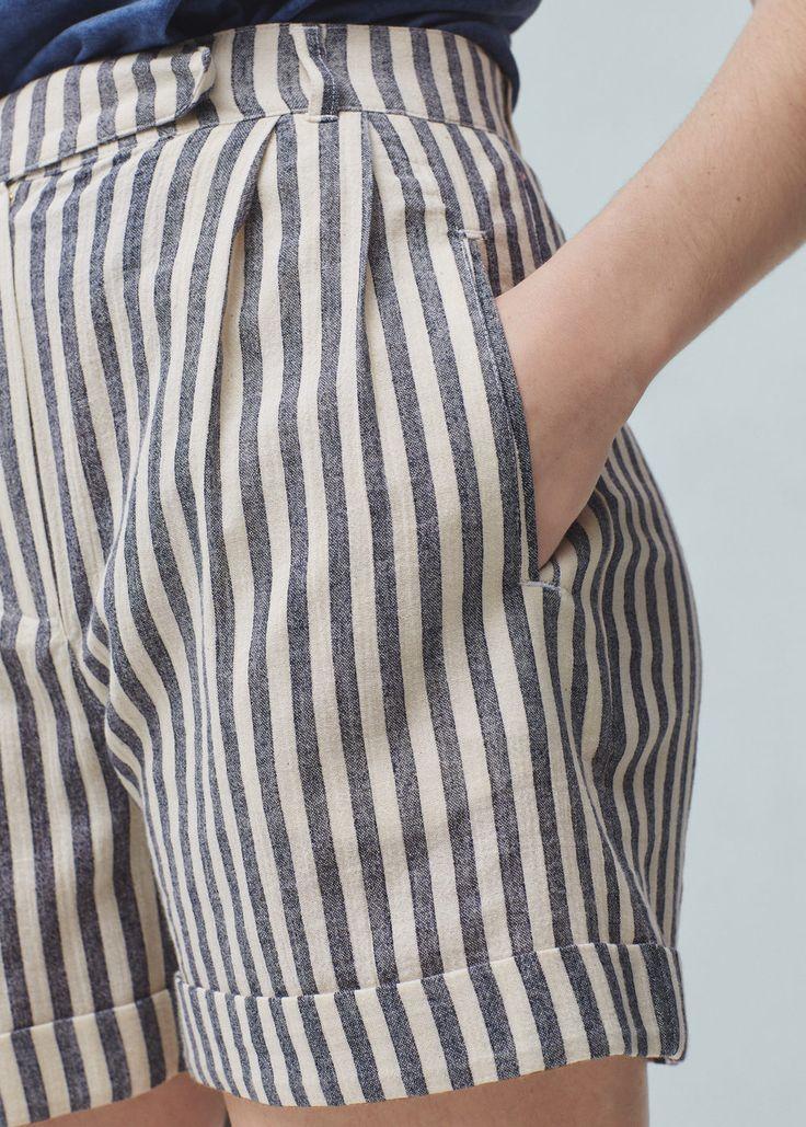 Striped cotton bermuda shorts | MANGO                                                                                                                                                                                 Más