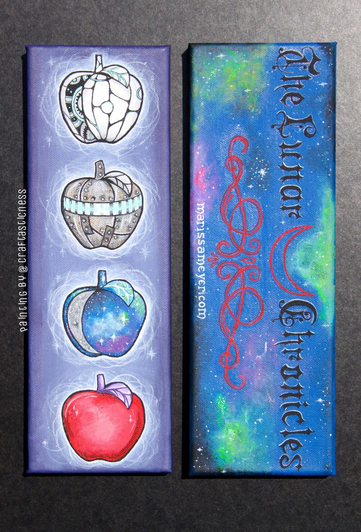 The Lunar Chronicles bookmark Contest Entry hand painted by me. Each apple represents a character. From top to bottom: Cinder/Cyborg Apple, Scarlet/Rampion Apple, Cress/Galaxy Apple, Winter/Red Apple<<<<beautiful! Not mine kudos to artist