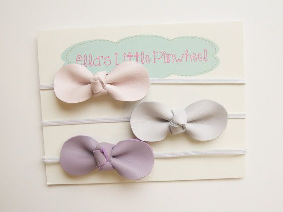 Set of 3 small knotted bow headbands or hair clips, pink, purple and off white genuine leather bow set for girls, toddlers and baby